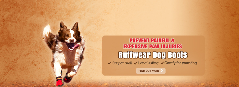 Prevent Painful & Expensive Paw Injuries with Ruffwear Dog Boots. Stay on well. Long lasting. Comfy for your dog.