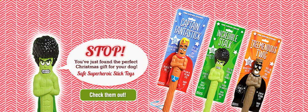 STOP! You've just found the perfect gift for your dog! Superhero Stick Toys by Doog. Check them out!