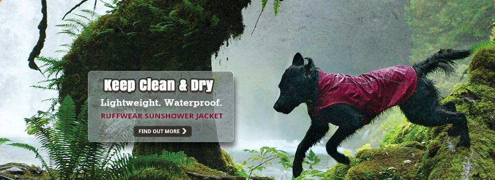 Keep your dog clean & dry with the Ruffwear Sunshower Jacket.